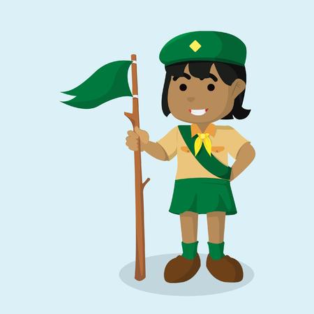African girl scout holding flag vector illustration