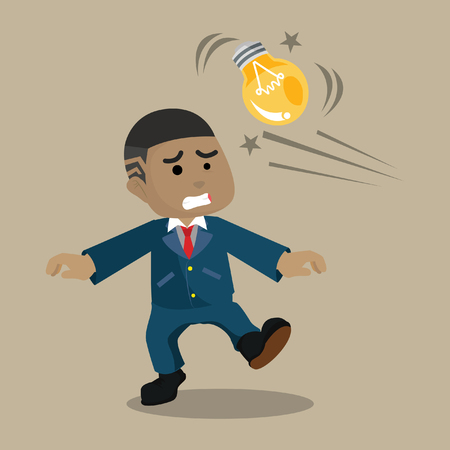 African businessman getting hit with bulb– stock illustration Illustration