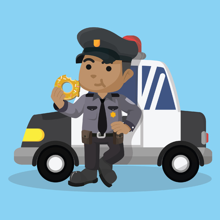 African police eating donut in front of car– stock illustration Illustration