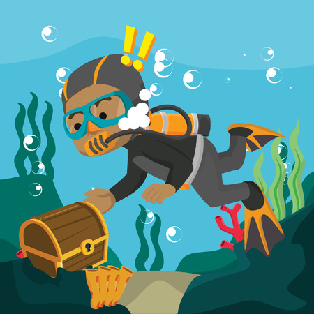 African diver find treasure chest– stock illustration