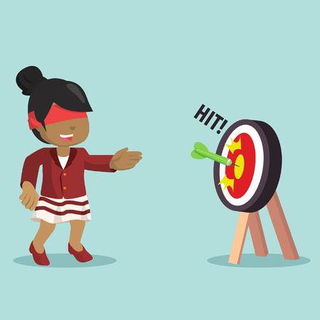 african businesswoman luck hit the target– stock illustration Vetores