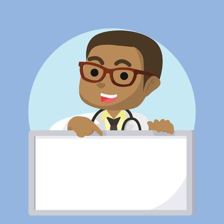 African boy doctor holding sign– stock illustration Illustration