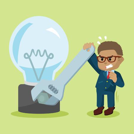 African businessman fixing bulb– stock illustration Illustration