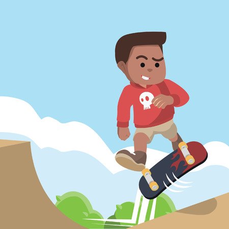 African boy doing vert trick– stock illustration Illustration