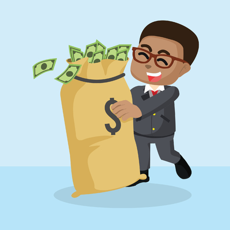 African businessman who love money– stock illustration