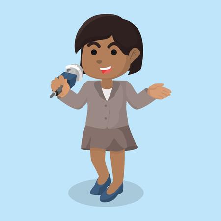 African girl reporter illustration design– stock illustration Vectores