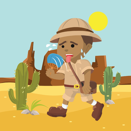 African explorer suffering from heata– stock illustration