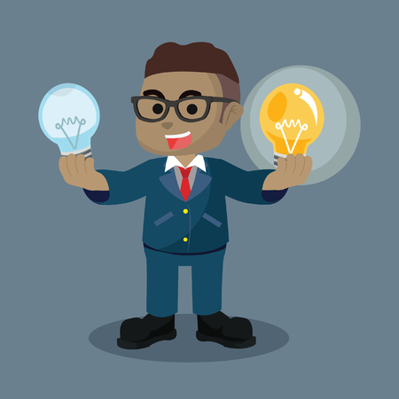 African businessman holding functional bulb and unfunctional bulb– stock illustration