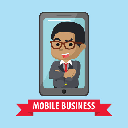 African businessman mobile business– stock illustration 向量圖像