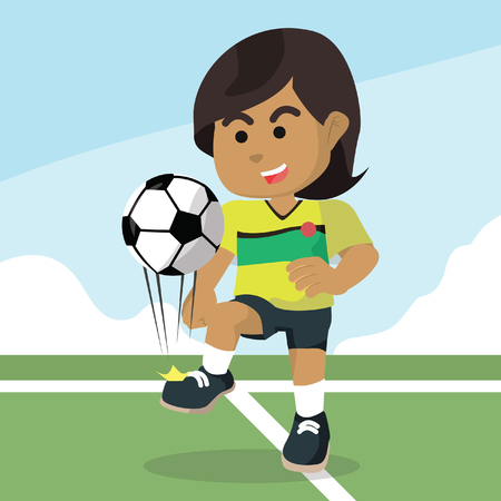 African female soccer player juggling ball stock illustration.
