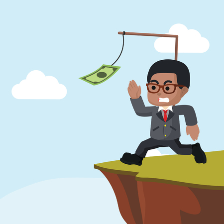 African businessman running on cliff– stock illustration Illusztráció