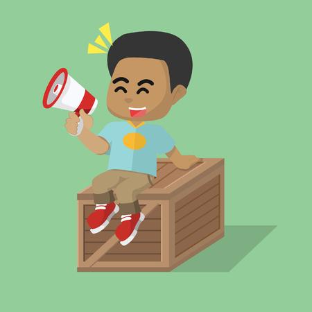 「木箱の上に座っているアフリカの少年」ストックイラスト  イラスト・ベクター素材