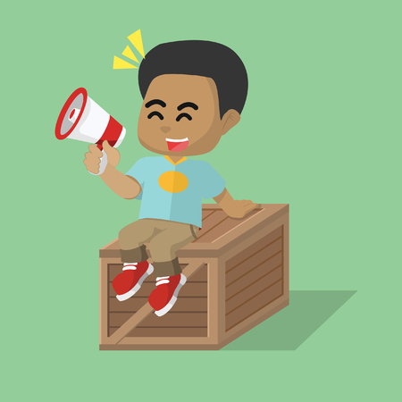 African boy sitting on crate– stock illustration