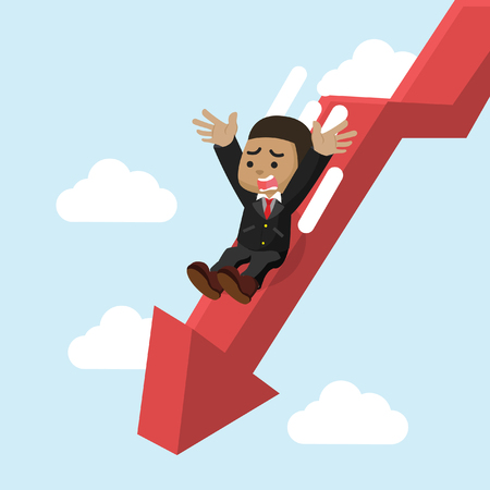 African businessman slide down graphic– stock illustration Illusztráció
