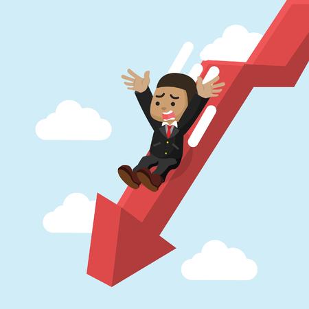 African businessman slide down graphic– stock illustration Иллюстрация