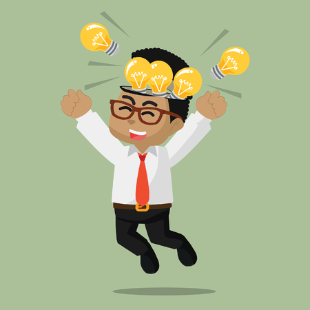 African businessman happy because full of bulb– stock illustration