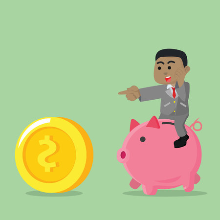 African businessman riding piggy bank chasing coin– stock illustration