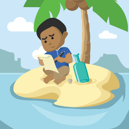 African boy wrote in a bottle for help– stock illustration