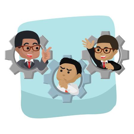 African businessmen in a gear– stock illustration 向量圖像