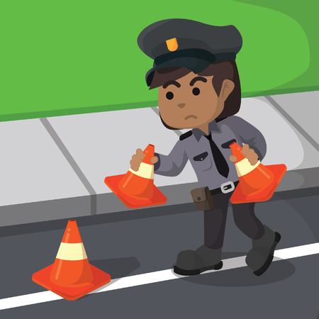 Illustration of traffic police placing cones in street
