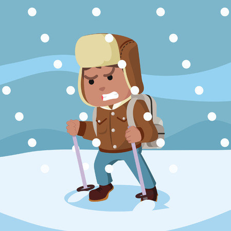 African arctic explorer in snow storm– stock illustration