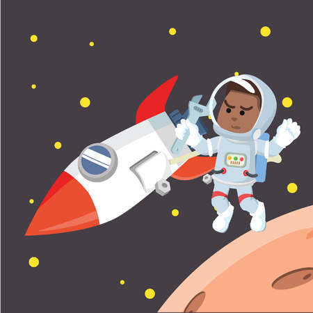 African astronaut fixing rocket stock illustration. 向量圖像