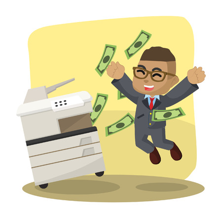 African businessman successfully copying money– stock illustration