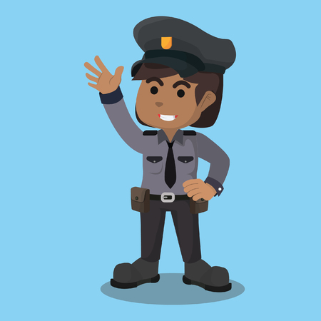 African female police officer stock illustration.