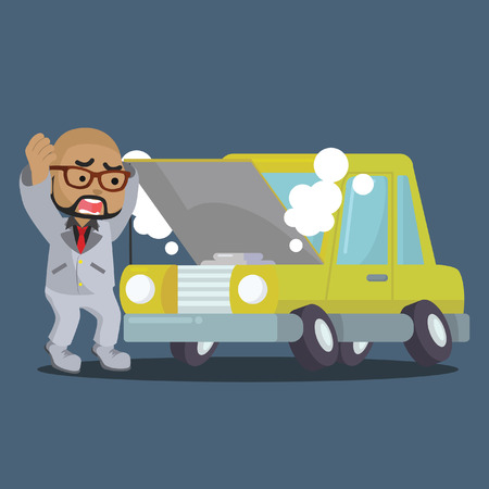 African businessman panicked broken car– stock illustration