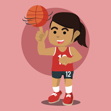 African female basketball player spinning the ball– stock illustration Illustration