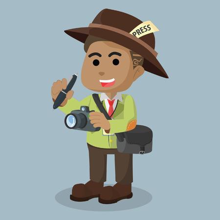 African journalist character design– stock illustration