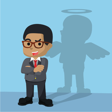 Africain, homme affaires, avoir, ange, ombre, illustration Banque d'images - 92719089