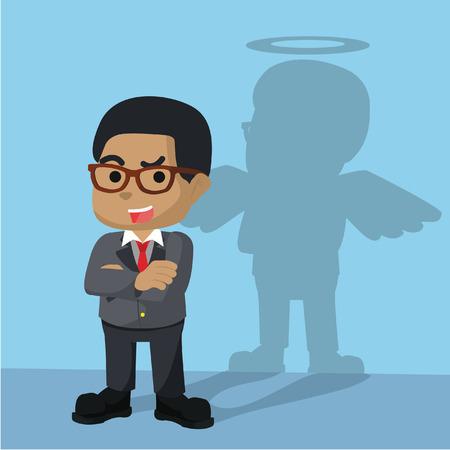 African businessman have angel shadow– stock illustration 向量圖像