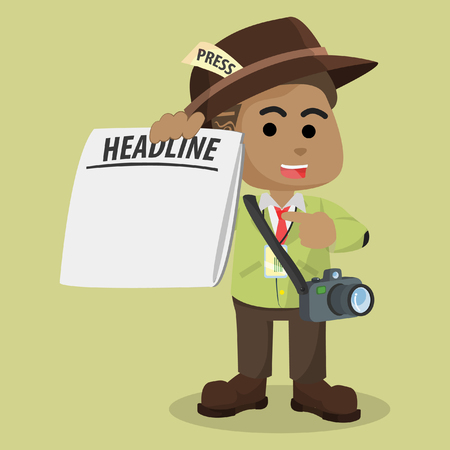 african Journalist with blank newspaper– stock illustration Vectores