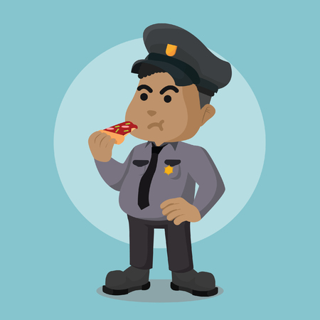 African fat police officer eating pizza stock illustration.