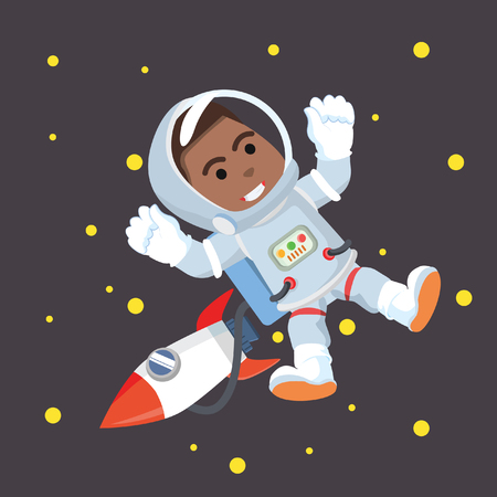African astronaut in space stock illustration. Çizim