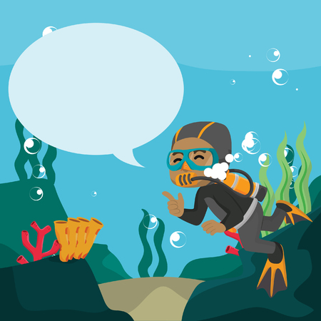 African diver with callout underwater– stock illustration Ilustracja