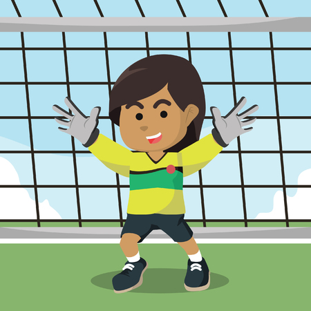 Boy standing as goalkeeper Stock Illustratie