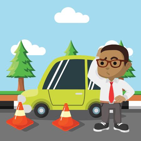 Homme d'affaires africain a obtenu voiture route cône-stock illustration Banque d'images - 92712574