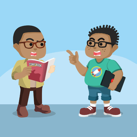 African nerd talking each other about comic– stock illustration