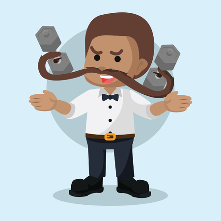 African guy lift weight with mustache– stock illustration Illustration
