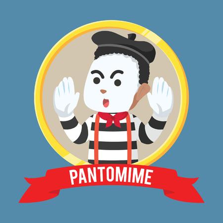 """Diseño de ilustración de emblema de pantomima africanaâ ? """"ilustración de stock"""