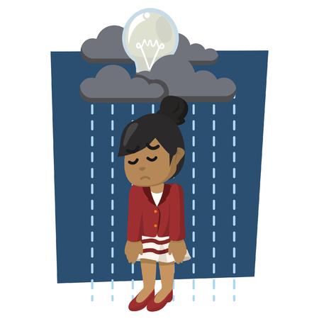 African businesswoman with raining bulb– stock illustration Illustration