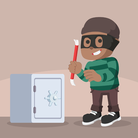 African thief using crowbar to break safes– stock illustration Illustration