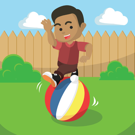 African boy rolling the ball– stock illustration