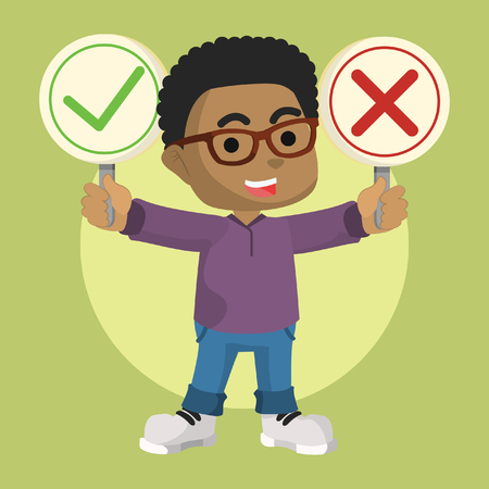 African boy holding right and wrong sign– stock illustration