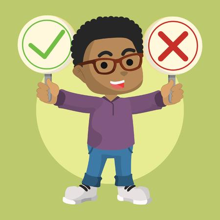 Muchacho africano con ilustración stock de signo correcto e incorrecto Foto de archivo - 92733030