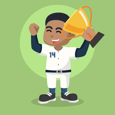 African baseball player holding trophy– stock illustration