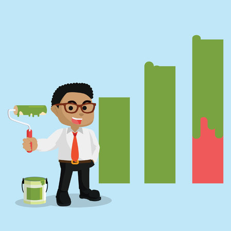 African businessman repainting a graphic diagram– stock illustration