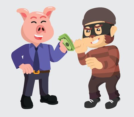 businessman give money to thief vector illustration